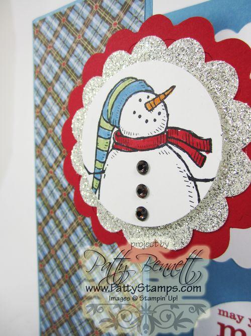 Colored rhinestone snowman