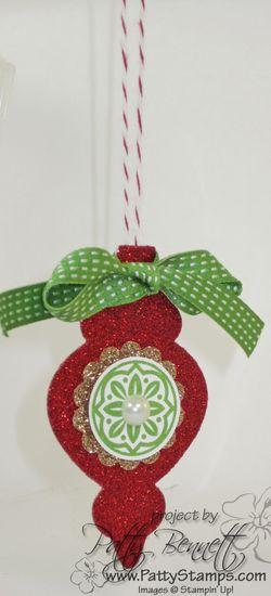 Ornament glimmer red 2