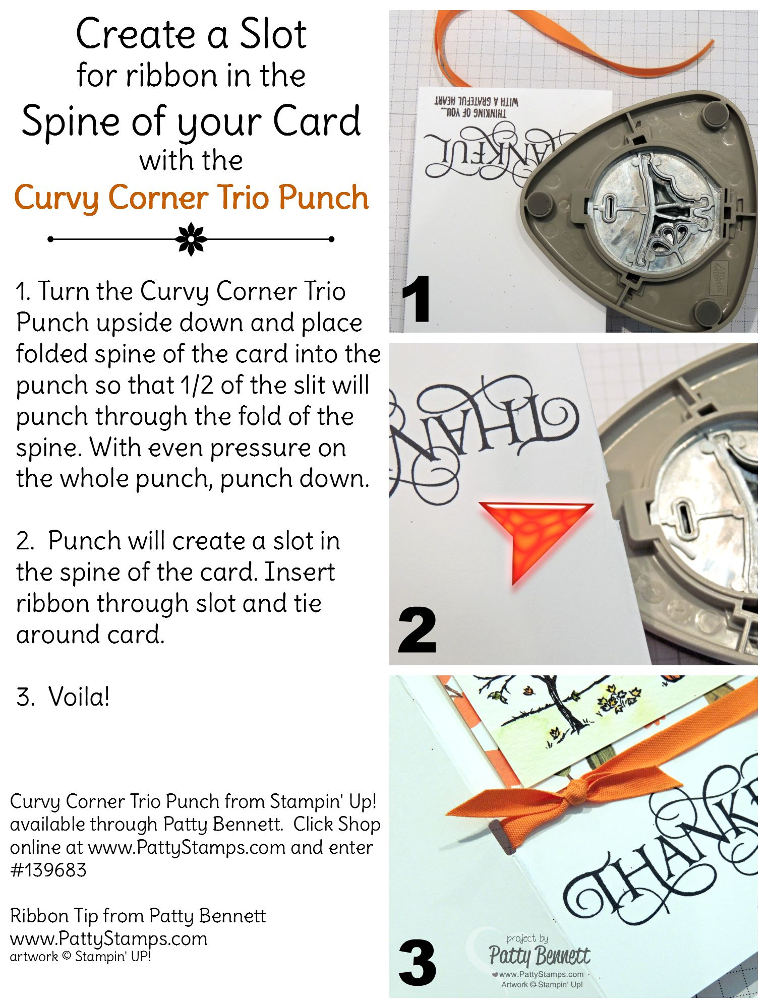 Stampin Up Curvy Corner Trio Punch Tip And Fall Cards Patty Stamps