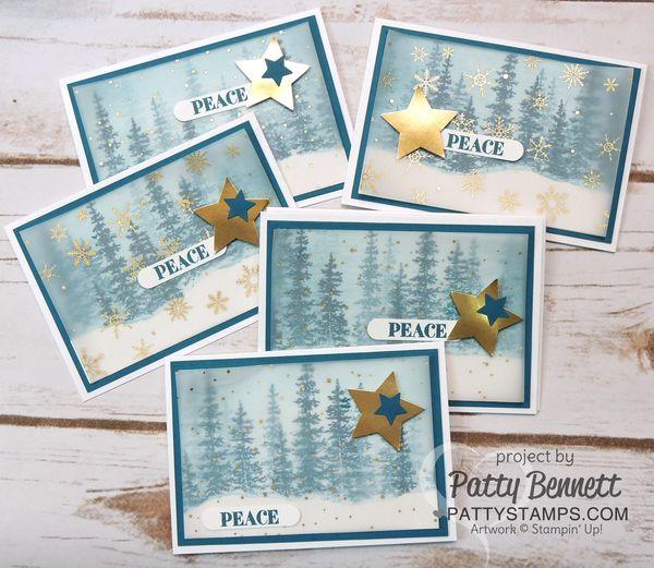 Wonderland-trees-snow-vellum-cards-pattystamps-stampin-up-peace-star