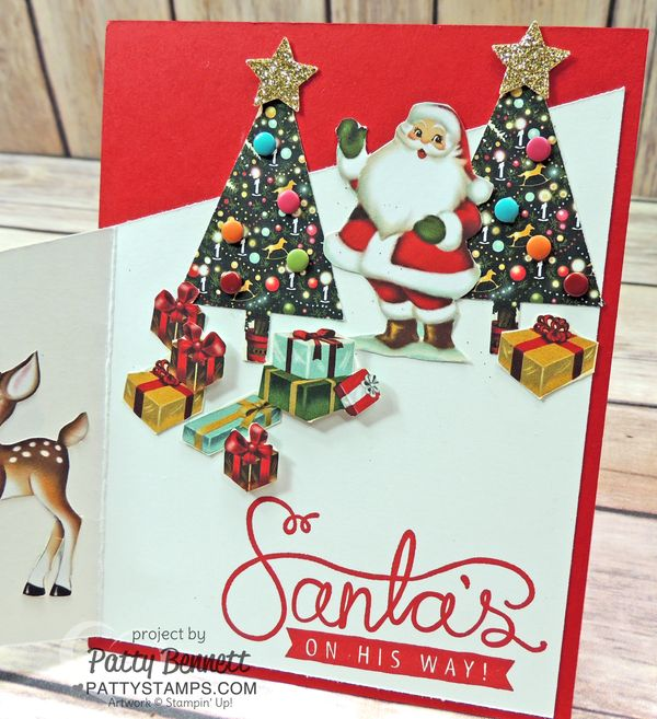 Trifold-home-for-christmas-tree-punch-santa-on-way-card
