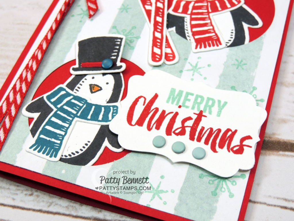 Merry Christmas greeting hand stamped from the Seasonal Snapshot Project Life set from Stampin' UP!.  Perfect stamped accent to this cute Penguin Christmas card featuring the Snow Place / Snow Friends bundle.
