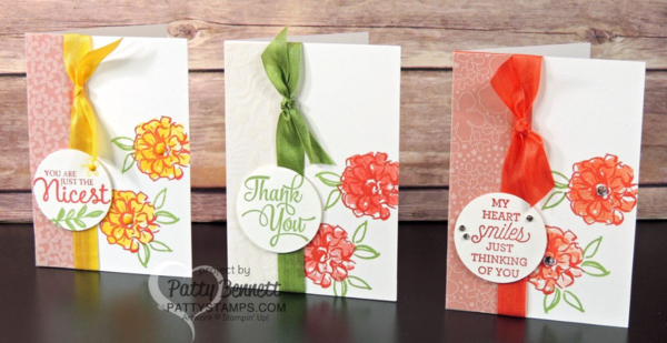 Stampin' Up! Sale a Bration What I Love cards in 3 color combos. Notecards with Botanical Vellum by Patty Bennett at pattystamps.com