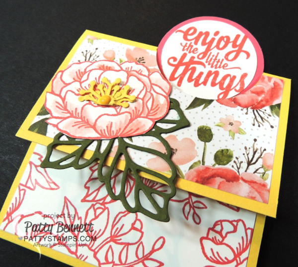 Stampin' Up! fun fold card featuring Birthday Blooms stamp set and Birthday Bouquet designer paper, with Rose Garden framelit leaf. card by Patty Bennett