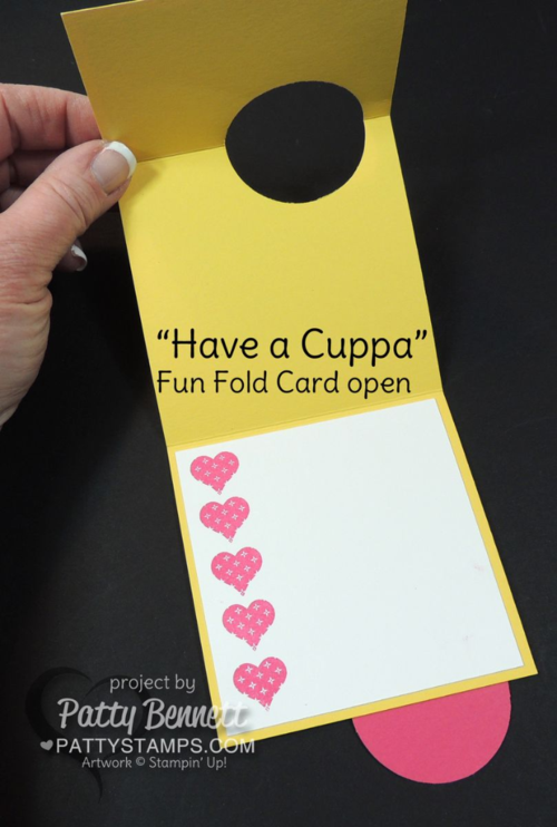 Stampin' Up! fun fold card featuring Have a Cuppa tea cup set and Cups and Kettles framelit dies. card by Patty Bennett