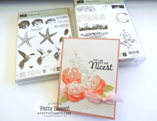 Stampin Up! card created with the Picture Perfect stamp set and Timeless Textures stamp set from the 2016 Occasions catalog, by Patty Bennett on her million dollar trip to the Riverton Home Office!