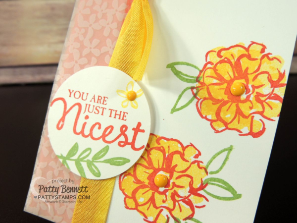 Stampin' Up! Sale a Bration What I Love card. Notecard with Botanical Vellum and It's My Party Enamel Dots by Patty Bennett at pattystamps.com
