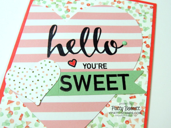 Create cute heart cards for Valentine's day or any occasion with the January 2016 Paper Pumpkin kit or refill! Hello stamp is free but ONLY available until Feb. 15, 2016! Get it soon! Sale a Bration promotion details at www.PattyStamps.com