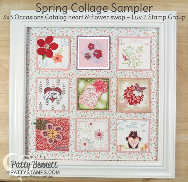 Framed Collage featuring 3x3 squares stamped with 2016 Stampin' UP! Occasions catalog stamps, punches, big shot dies and accessories by the Luv 2 Stamp Group.