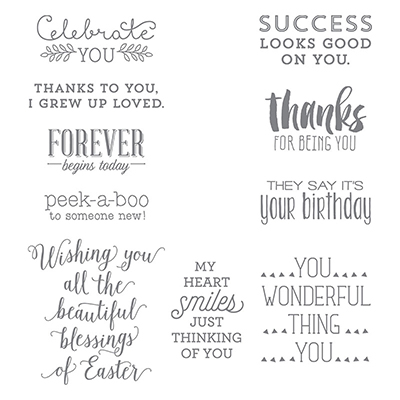 Stampin' Up! Suite Sayings Stamp set - perfect rubber stamp greeting set for all occasions cards and crafting projects