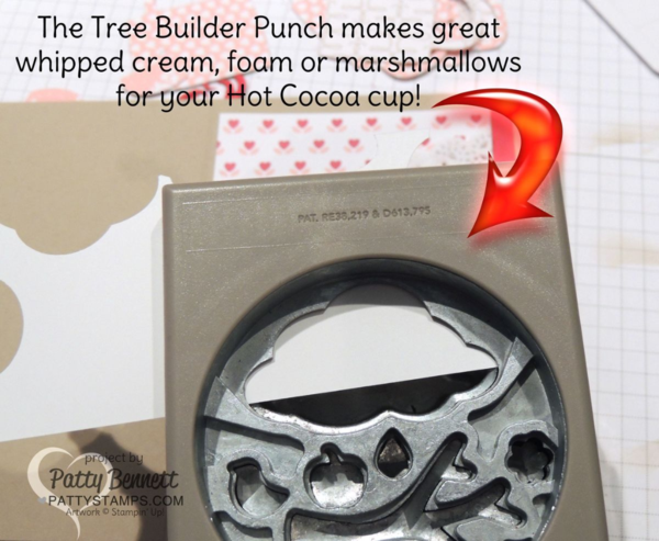 """Use the Tree Builder Punch from Stampin' Up! to create some """"whipped cream"""", marshmallows or foam on your Hot Cocoa mug or coffee cup!"""