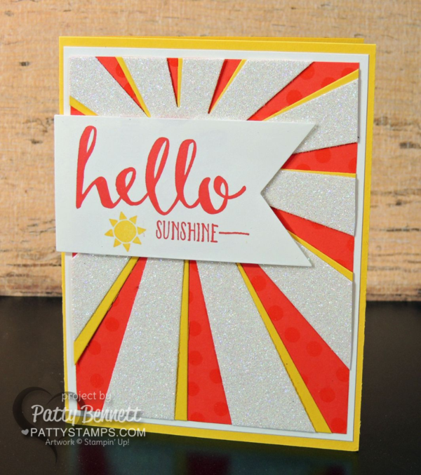 Hello Sunshine Sunburst Thinlit die card featuring Stampin' UP! Occasions catalog and Sale a Bration products. Card by Patty Bennett blogging at pattystamps.com