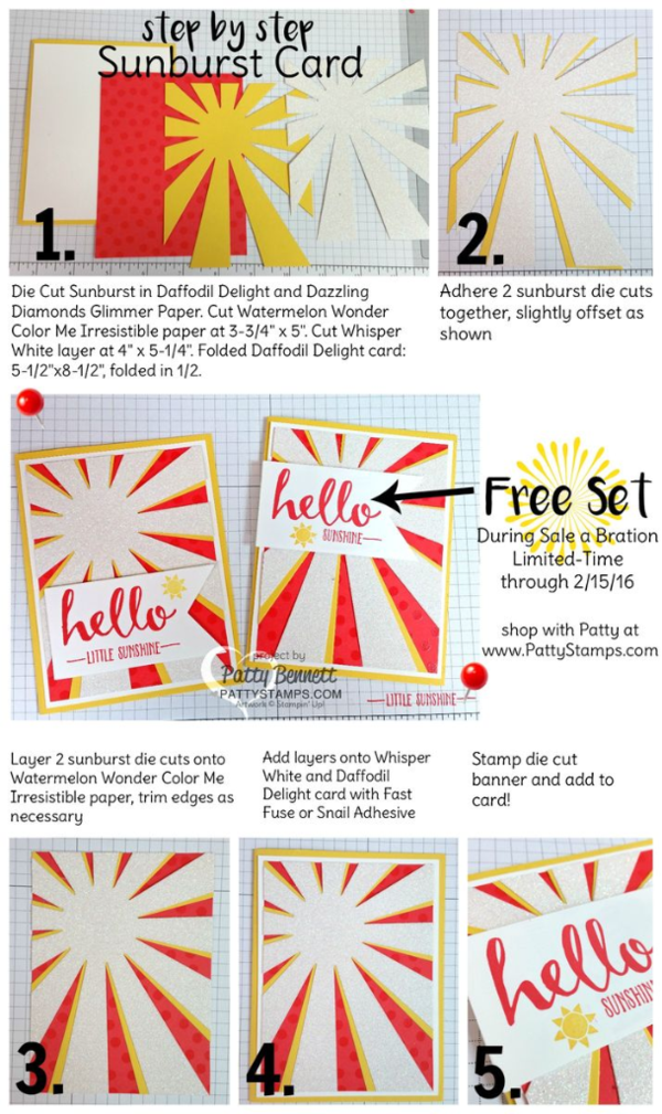 Step by Step tutorial for Hello Sunshine Sunburst Thinlit die card featuring Stampin' UP! Occasions catalog and Sale a Bration products. Card by Patty Bennett blogging at pattystamps.com