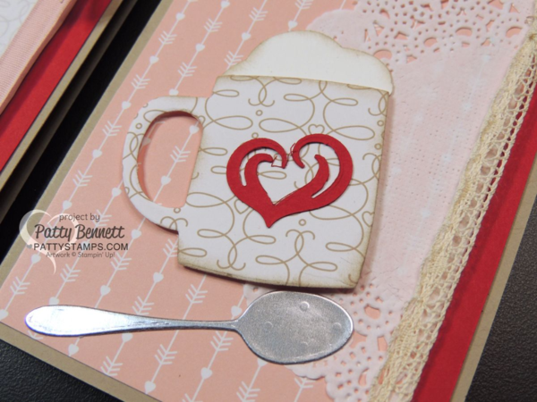 Hot cocoa mug Valentine cards, thank you cards, all occasions cards featuring Cups & Kettles framelit dies from Stampin UP!. Love Blossoms paper, a silver spoon and a doily finish off these sweet cards by Patty Bennett
