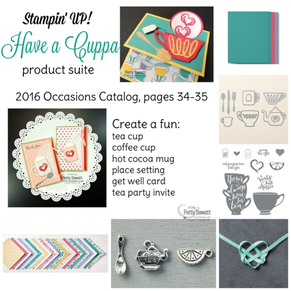 Have a Cuppa Stampin' Up! product suite including paper, charms, framelit die cut, stamps, and ribbon. Perfect for Tea Party invitations!