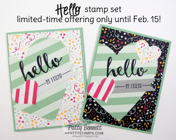 It's My Party stamped cards featuring limited time Hello Sale a Bration set from STampin' Up! and Paper Pumpkin hearts from January 2016 kit.