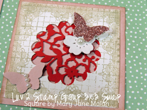 Stampin' UP! spring flower and Valentine framed collage home decor swap from the Luv 2 Stamp Group, featuring 2016 Occasions catalog stamps, paper, ink and accessories.