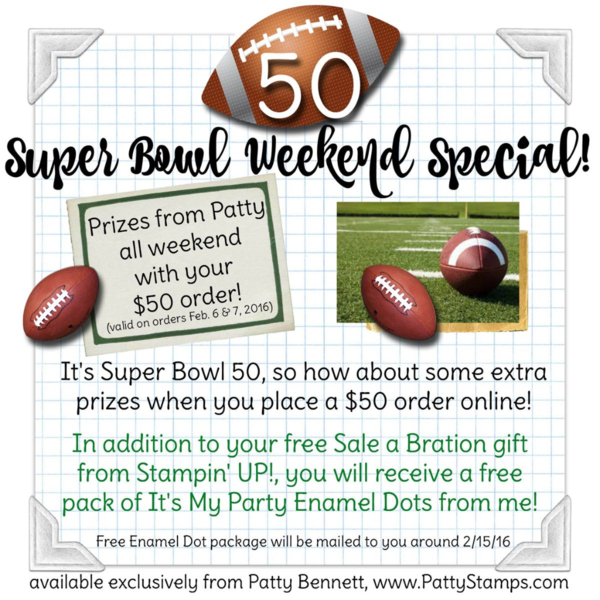 Super bowl 50 weekend ordering special from Patty Bennett at pattystamps.com
