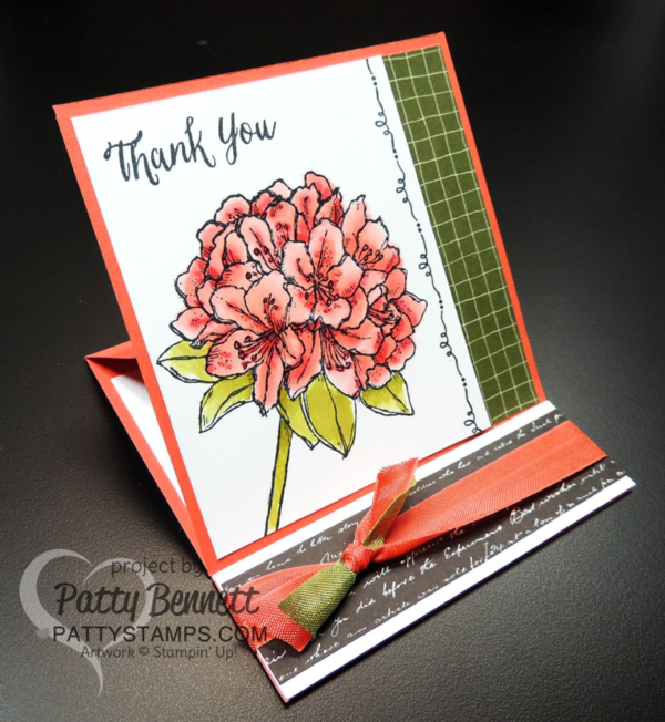 Easel Card Fancy Fold design featuring the Stampin' Up! hostess set called Best Thoughts. Going Places designer paper and the Wink of Stella pen are perfect accessories. card by Patty Bennett at www.PattyStamps.com