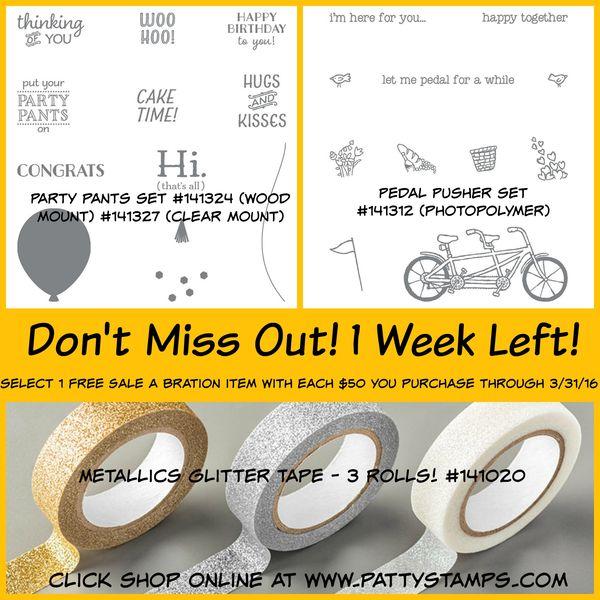 1 week left sale a bration pattystamps