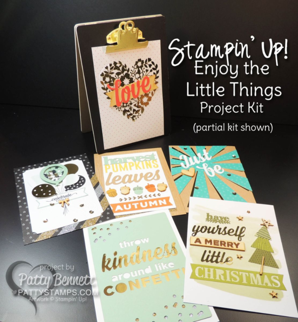"""Craft a fun home decor seasonal display piece with 13 interchangeable pieces and a chalkboard clipboard easel included in your """"Enjoy the Little Things"""" kit from Stampin' UP!"""