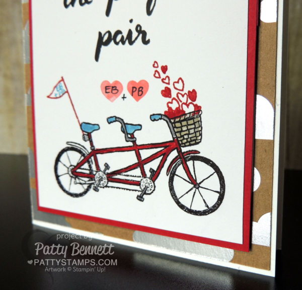 Stampin' UP! Pedal Pusher Sale a Bration stamp set - bicycle built for 2 perfect pair card by Patty Bennett