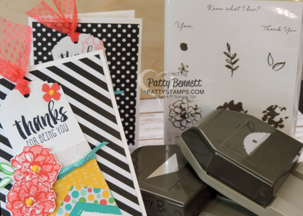 """Tag Cards created with the Stampin' UP! Banner Triple Punch and Ornate Tag Topper Punch. Cherry on Top paper and Neutrals black and white backgrounds make the cards pop! Sale a Bration """"What I Love"""" flower stamped in Watermelon Wonder ink by Patty Bennett"""