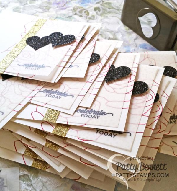 Stampin' UP! Botanical Gardens vellum overlay on Rose Wonder bridal shower invitation cards, featuring black glimmer paper and gold Metallic Glitter tape.