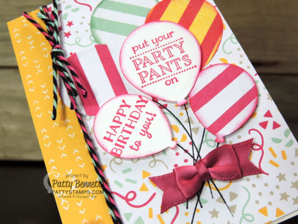 Festive and Fun Party Pants birthday card with balloons - Stampin' Up! 2016 Occasions catalog supplies and Sale a Bration stamp set! card by Patty Bennett