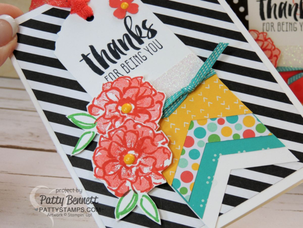 """Tag Card created with the Stampin' UP! Banner Triple Punch and Ornate Tag Topper Punch. Cherry on Top paper and Neutrals black and white backgrounds make the cards pop! Sale a Bration """"What I Love"""" flower stamped in Watermelon Wonder ink by Patty Bennett"""