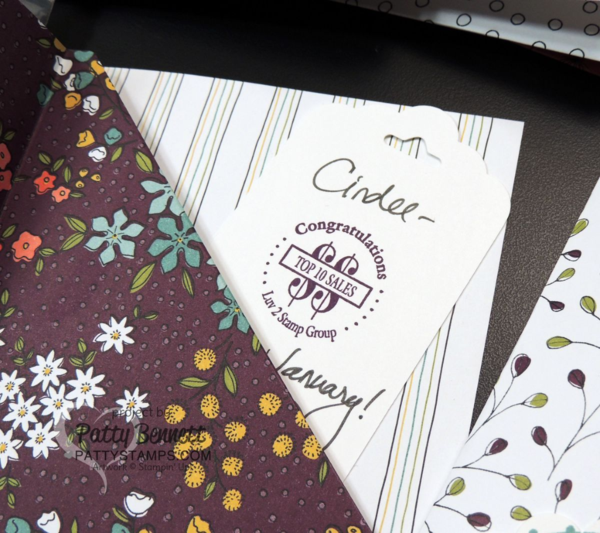 Luv 2 Stamp Group recognition cards featuring Wildflower Fields designer paper double pocket cards from Sale a Bration 2016 - Stampin' Up!, by Patty Bennett
