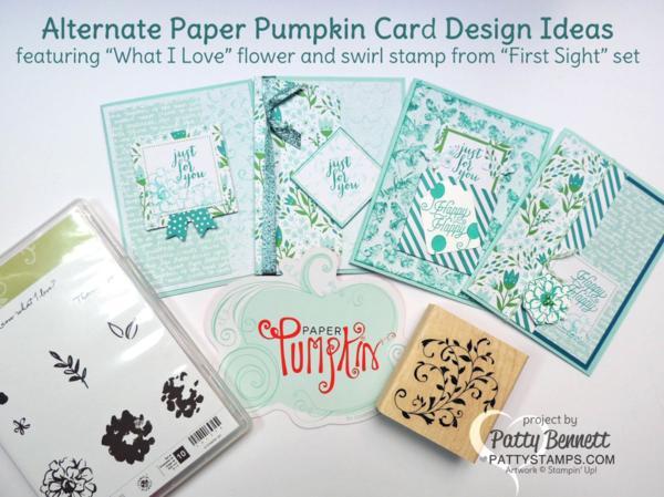 Stampin' UP! March 2016 Paper Pumpkin kit alternate card design ideas by Patty Bennett