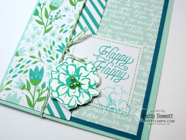 Stampin' UP! March 2016 Paper Pumpkin kit alternate card design idea with What I Love Sale a Bration flower image, by Patty Bennett