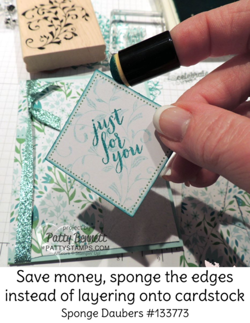 Stampin' UP! March 2016 Paper Pumpkin kit alternate card design idea - TIP: sponge cardstock edges instead of layering it onto another piece of cardstock -  by Patty Bennett