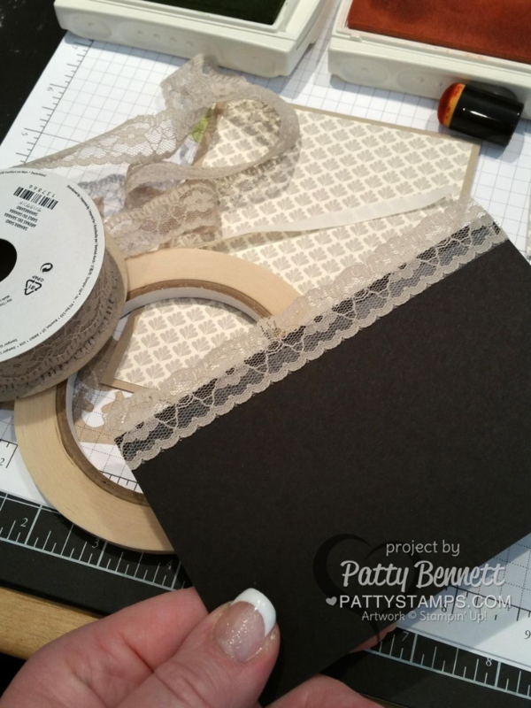 Sahara Sand Lace Trim - perfect touch for a vintage card. Adhere to your card witih STampin' Up! Tear and Tape!