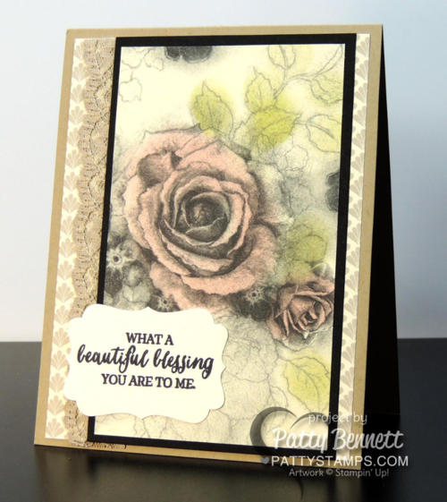 Create beautiful vintage floral rose cards with Timeless Elegance designer paper from Stampin' Up!, a sponge dauber and ink pads!  by Patty Bennett, www.PattyStamps.com