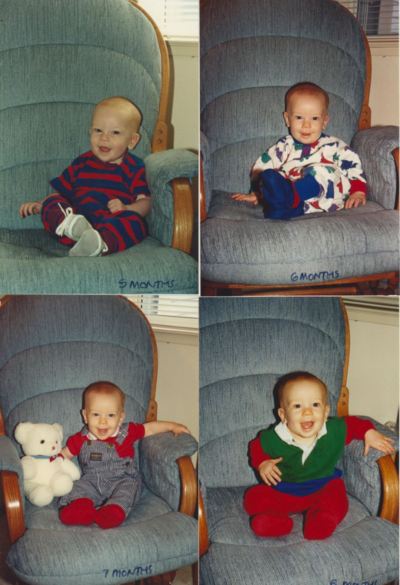 Baby Pictures month to month - Jason 5 months to 8 months - great for Project Life Baby Album