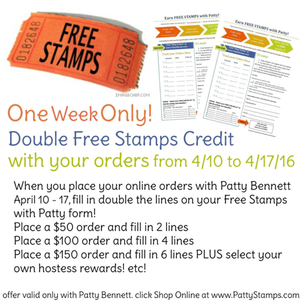 Double free stamps with Patty April 10 - 17, 2016