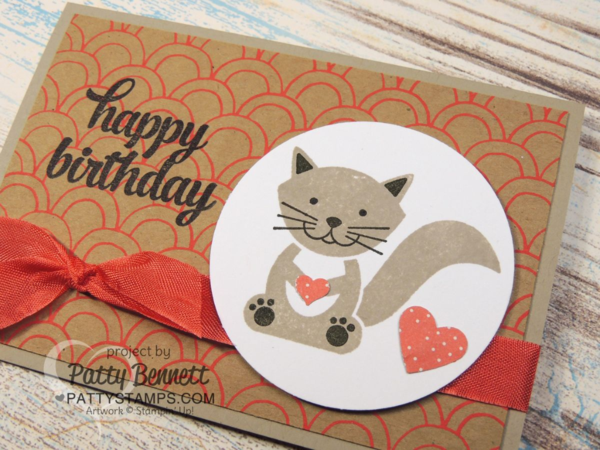 Foxy friends stamp set birthday card featuring kitty cat image and Shine On paper from Stampin' Up!. by Patty Bennett at www.PattyStamps.com