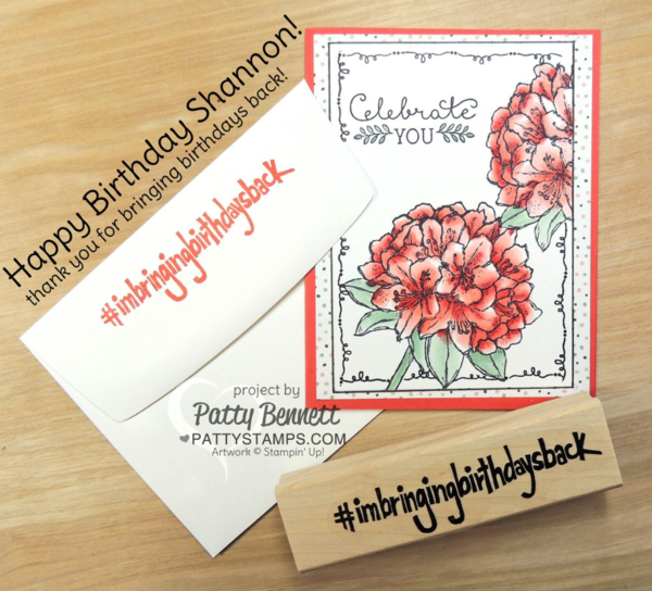 Best Thoughts hostess set from Stampin' UP! - birthday card for Shannon West created by Patty Bennett #imbringingbirthdaysback