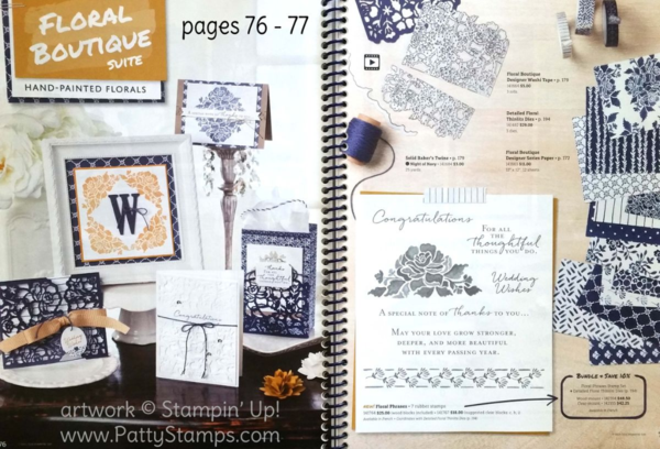 Stampin' Up! Floral Boutique suite including blue and white printed paper, Floral Phrases stamp set, and Detailed Floral Thinlits dies