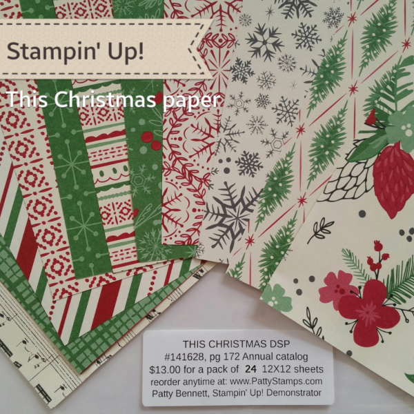 Stampin' UP! This Christmas Designer Series Paper Pack great for card making and crafting
