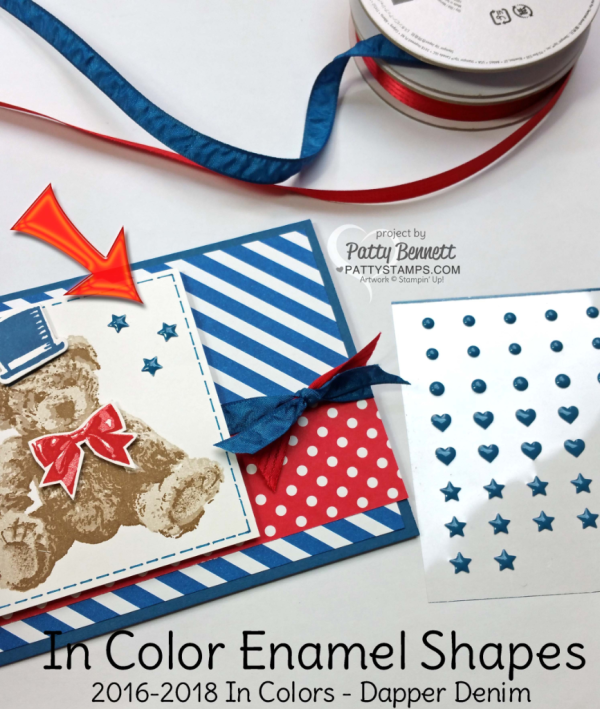 Patriotic Baby Bear red, white and blue card featuring Stampin' UP! stamps, paper, ink and In Color Dapper Denim enamel shapes. by Patty Bennett at pattystamps.com