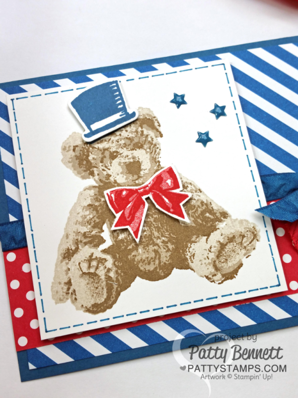 Patriotic Baby Bear red, white and blue card featuring Stampin' UP! stamps, paper and ink. by Patty Bennett at pattystamps.com