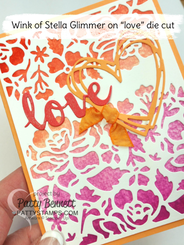Ombre ink pads from Stampin' Up! - video tutorial: How to create an easy watercolor wash background for your card!  Layer with Detailed Floral Thinlit big shot dies and Sunshine Wishes thinlits and Wink of Stella. Card and tutorial by Patty Bennett at pattystamps.com