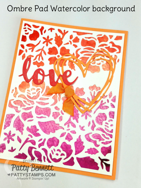 Ombre ink pads from Stampin' Up! - video tutorial: How to create an easy watercolor wash background for your card!  Layer with Detailed Floral Thinlit big shot dies and Sunshine Wishes thinlits. Card and tutorial by Patty Bennett at pattystamps.com
