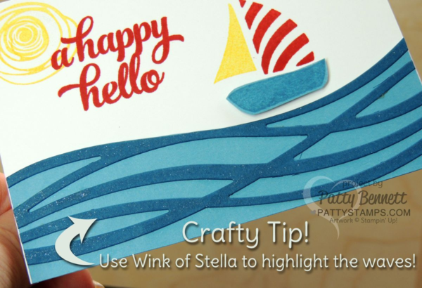 Swirly Bird and Swirly Scribbles happy hello sailboat card featuring Dapper Denim cardstock - new from Stampin Up!. Use Wink of Stella glimmer pen on the waves!