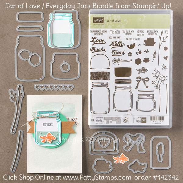 Stampin UP! Jar of Love and Everyday Jars bundle, available online. Click Shop Online at www.PattyStamps.com and order #142342