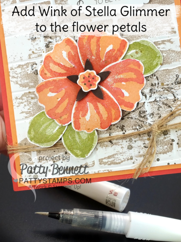 Use Wink of Stella to enhance this Bunch of Blossoms flower petals and Brick embossing folder card by Patty Bennett & Cindee Wilkinson. Stamp Watercolor Wash background over the embossed brick for a unique look!