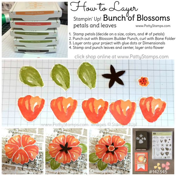 How to layer Bunch of Blossoms stamped images and punch with the Blossom Builder punch. Tutorial by Patty Bennett www.PattyStamps.com